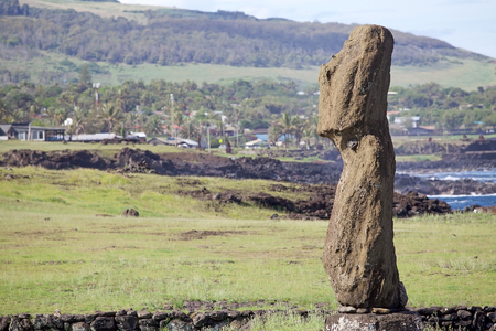 rapanui: Moai at the Tahai Ceremonial Complex at Easter Island, Rapa Nui, Chile. Easter Island is a Chilean island in the southeastern Pacific Ocean. It is famous for its 887 extant monumental statues called moai Editorial