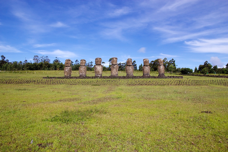 Ahu Akivi, Easter island, Chile. Ahu Akivi is a sacred place with seven moai, all equal size and shape. The moai face sunset during the Spring equinox and have their backs to sunset during the Autumn Equinox.