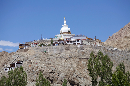Shanti Stupa in Leh, India. Shanti Stupa is a Buddhist white domed stupa on a hilltop in Chanspa, Leh District, Ladahk, in the north indian state of Jammu and Kashmir