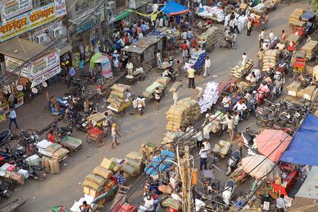 Busy street in Old Delhi, India. Old Delhi is the synbolic heart of metropolitan Delhi