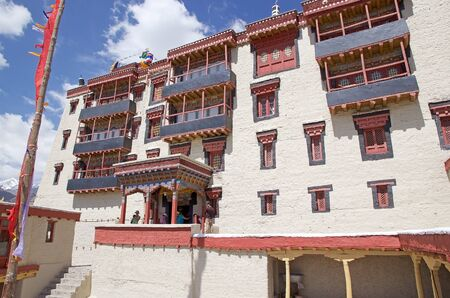 Tourists at the Stok Palace in Ladakh, India. It is the current residence of the former royal family of Ladakh.
