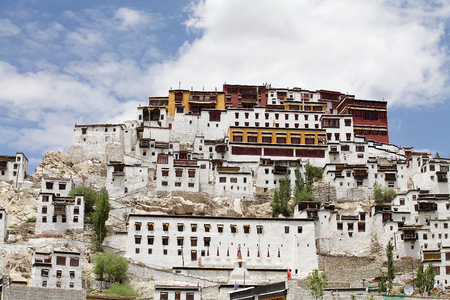 Thiksey Monastery in Ladakh, India. It is located on top of a hill in Thiksey village Editorial