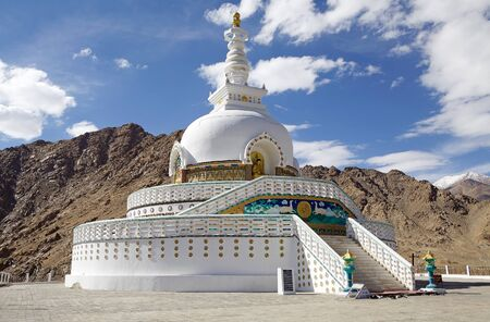 Shanti Stupa in the Leh district, Ladakh, in the northern Indian state of Jammu and Kashmir. It is a white domed Buddhist stupa.