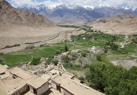 Traditional houses at the Likir village in Ladakh, India.