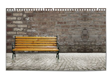 Urban illustration with bench and old brick wall on the isolated background