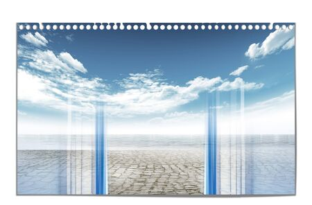 Window on the paved floor with sea and blue sky with clouds on isolated background
