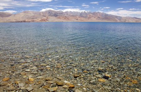 Tso Moriri Lake view in Ladakh region in the Indian state of Jammu and Kashmir. The mountain lake is at an altitude of 4522 m in the Changthang Plateau