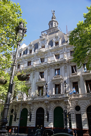 La Prensa building along the Avenida the Mayo, Mayo Avenue, in Buenos Aires. La Prensa is a a daily newspaper founded in 1869. The Company sold the building to the city in 1988 and it was converted it into the City Cultural Ministry