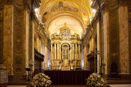 The main nave in the Buenos Aires Metropolitan Cathedral, Argentina. It is the main catholic church in Buenos Aires, Argentina. It is located in the city center, overlooking Plaza de Mayo. The present building is a mix of architectural styles.