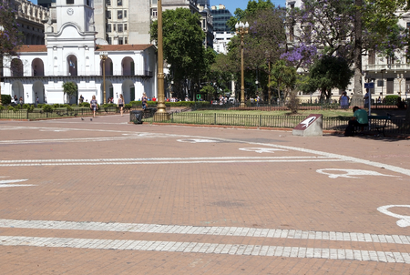 The white scarfs of the Mothers in Plaza de Mayo in Buenos Aires, Argentina. The Mothers of Plaza de Mayo is an association of Argentine mothers whose children disappeared during the state terrorism of the military dictatorship, between 1976 and 1983