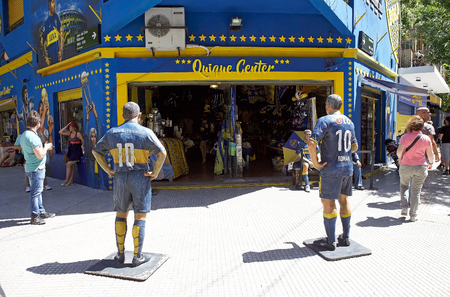 Shop in front of the stadium La Bombonera in La Boca in Buenos Aires, Argentina. The stadium is owned by Boca Junior, a football club. La Boca is a neighbourhood, barrio of Argentine capital, in Buenos Aires