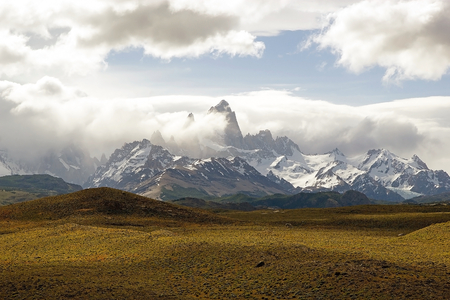 Cerro Fitz Roy mountain in Patagonia, view from the road to El Chalten, Argentina