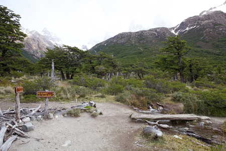Direction signs along the trail to mount Fitz Roy at the Los Glaciares National Park, Argentina. The park was established on 11 May 1937 and it is the largest national park in the country