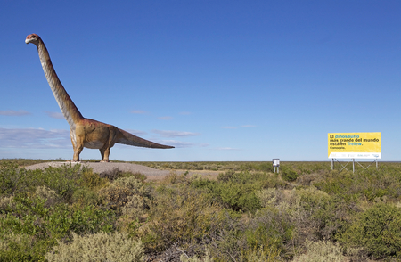 Dinosaur scale model, Patagotitan mayorum, in Chubut Province, Patagonia, Argentina