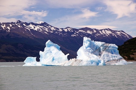 Icebergs in the Argentino Lake, Argentina. Argentino Lake is the biggest freshwater lake in Argentina.