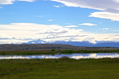 Laguna Nimez, a wildlife reserve at El Calafate in Patagonia, Argentina. The reserve is a few steps from the city center and close to Lake Argentino. The Laguna Nimez concentrates a varied sample of local wildlife. Banco de Imagens - 98962311