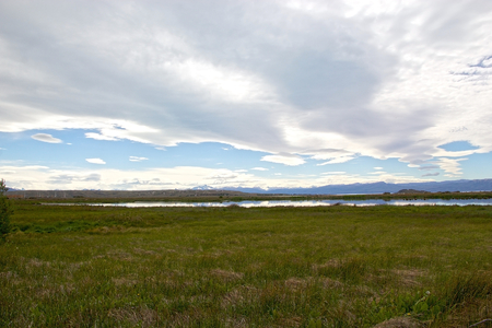 Laguna Nimez, a wildlife reserve at El Calafate in Patagonia, Argentina. The reserve is a few steps from the city center and close to Lake Argentino. The Laguna Nimez concentrates a varied sample of local wildlife. Banco de Imagens