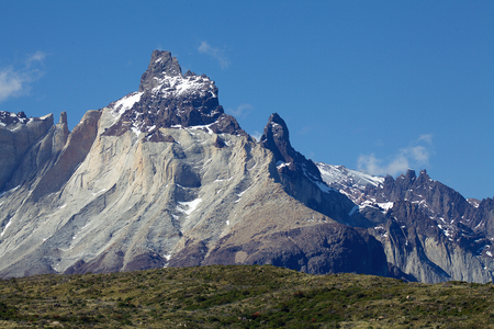 Cuernos del Paine with blue sky, view from Lake Pehoe in Torres del Paine National Park in Magallanes Region, southern Chile.
