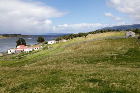 Estancia Haarberton in Beagle Channel in Tierra del Fuego, Patagonia, Argentina. Estancia Harberton was established in 1886 and it is the oldest farm in Tierra del Fuego