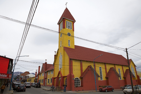 Our Mary of Mercy Church in Ushuaia, the capital of Tierra del Fuego, Atartida e Islas del Atlantico Sur Province, Argentina. It is the southernmost Catholic church in the world Editorial