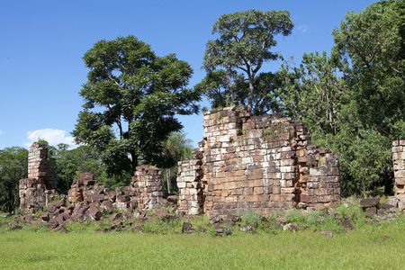 Ruins among the forest at the Reduction of Our Lady of Saint Ana, Argentina. Jesuit reduction was a type of settlement for indigenous people in South America established by the Jesuit Order from the 16th and 18th centuries. Reklamní fotografie