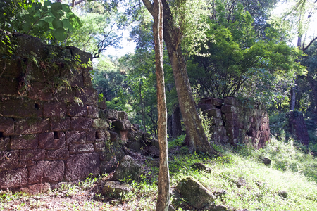 Ruins among the forest at the Reduction of Our Lady of Lauret, Argentina. Jesuit reduction was a type of settlement for indigenous people in South America established by the Jesuit Order from the 16th and 18th centuries.