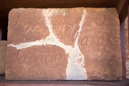 Brick at the Jesuit Missions of La Santisima Trinidad de Parana is located in the Itapua Departement in Paraguay and is a religious missions that were founded by Jesuit missioners during the colonization of South America during the 17th Century.