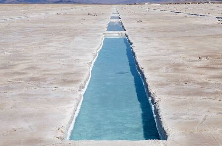 Salinas GRandes in north west part of Argentina in the provinces of Salta and Jujuy at an average altitude of 3450 meters above sea level and having an area of about 212 sq km Stock fotó