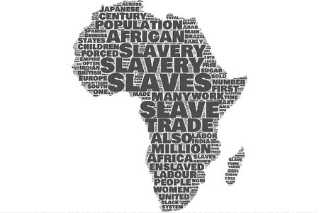 Slavery Africa map word cloud on the isolated background