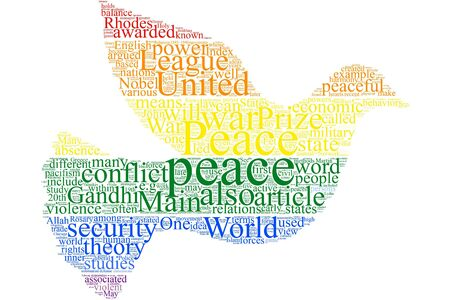 Peace word cloud on the isolated background