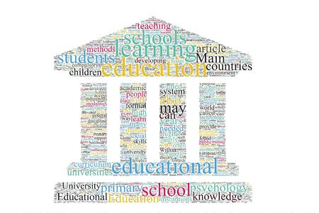 Education world map word cloud on the isolated backgroud