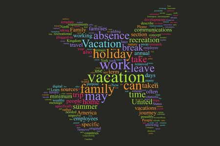Vacation word cloud on the isolated background