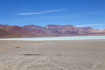 Diamond Lagoon in the Cerro Galan, a caldera in the Catamarca Province, Puna, Argentina. Cerro Galan is one of the largest exposed caldera in the world. It is part of the Central Volcanioc Zone of the Andes.