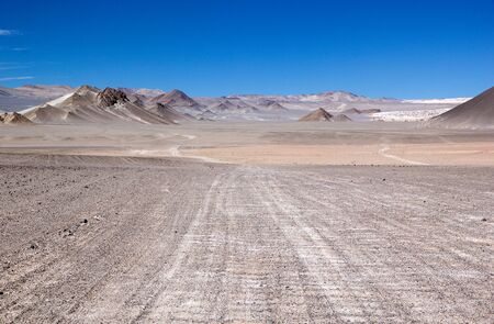 Landscape at the Puna de Atacama, Argentina. Puna de Atacama is an arid high plateau in the Andes of northern Chile and Argentina. In Argentina Puna's territory is extended in the provinces of Salta, Jujuy and Catamarca