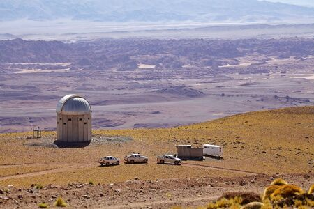Observatory with Salar de Arizaro at the Puna de Atacama, Argentina. Salar of Arizaro is a large salt flat of the Andes in north-western Argentina and it covers an area of 1600 kmq