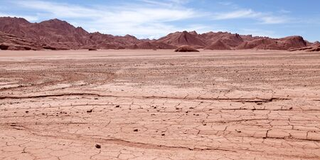 Desierto del Diablo, Devil Desert, landscape in Puna de Atacama, Argentina. It is a giant desolate place. This red landscape seem from the another planet.