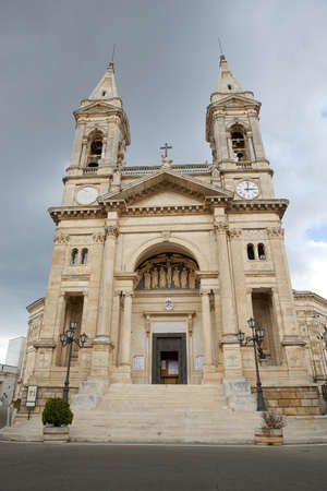The cathedral of Alberobello, Apulia, Italy. Alberobello is a small town in southern Italy. First devotional attestation for Saints Cosma and Damiano were recorded in the second half of seventeenth century