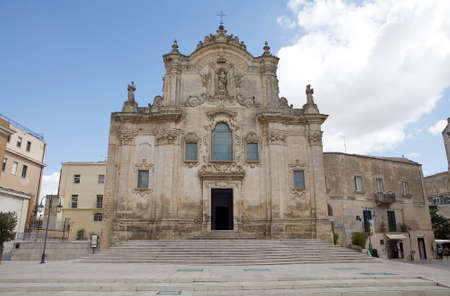 St Francis Church at the Sassi of Matera in Matera, Italy. The Sassi of Matera are two district, Sasso Caveoso and Sasso Barisano, of the italian city of Matera, Basilicata, known for their ancient cave dwellings inhabited since the Paleolithic period.