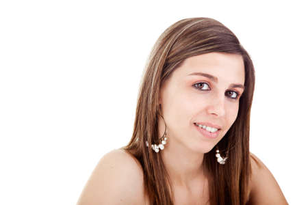 Portrait of a beautiful young woman. Studio shot, over white background. Stock Photo - 14390081