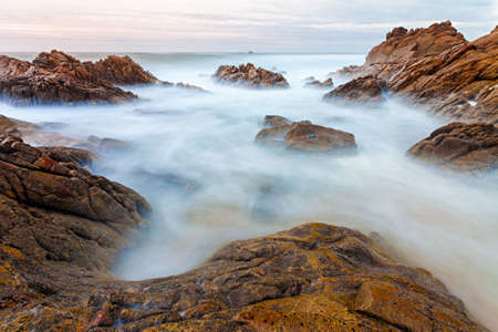 Long exposure photo of coastal view in the north of Portugal. photo