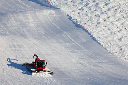 Ski slopes maintenance on the mountains in the Swiss Alps. photo