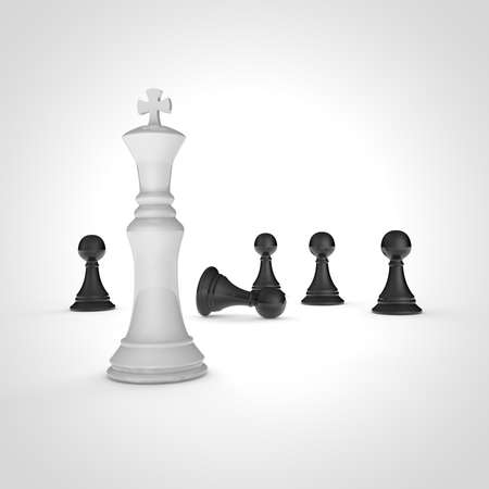 High resolution 3D render of black pawns and white chess king on white background. photo