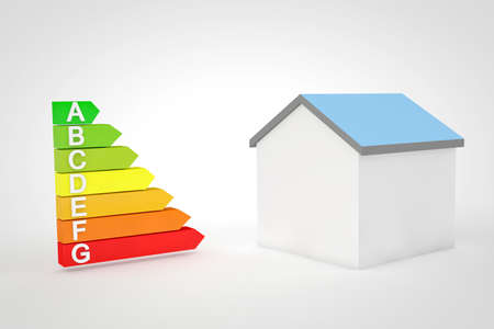 kwh: High resolution 3D render of the seven levels for home energetic efficiency on white background. Stock Photo