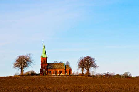View of a beautiful typical Scandinavian church Фото со стока