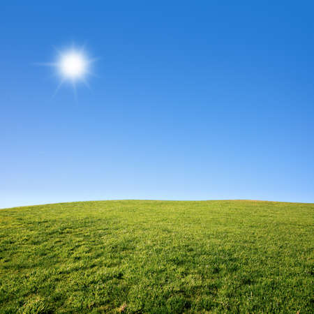 Photo of a green grass field with deep blue sky on a sunny day Stock Photo