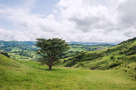 View over the green hills in Monteverde, Costa Rica. Stock Photo