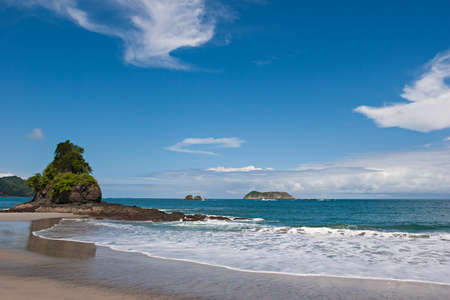rica: View over a beautiful pacific beach at Manuel Antonio, Costa Rica. National Reserve.