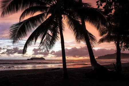 Sunset at Manuel Antonio Beach, Costa Rica. Stock Photo