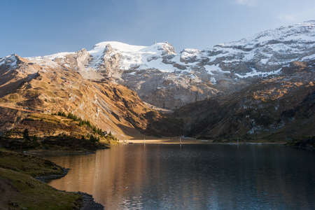 Beautiful landscape photo of mountains and lake on Trubsee  Titlis, in the Swiss Alps. Stock Photo