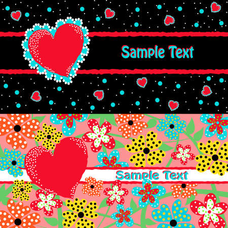 Set of  two Valentine cards with hearts and flowers Vector